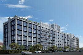 Rendering of the residential development at the the former New York Dock building by AA Studio